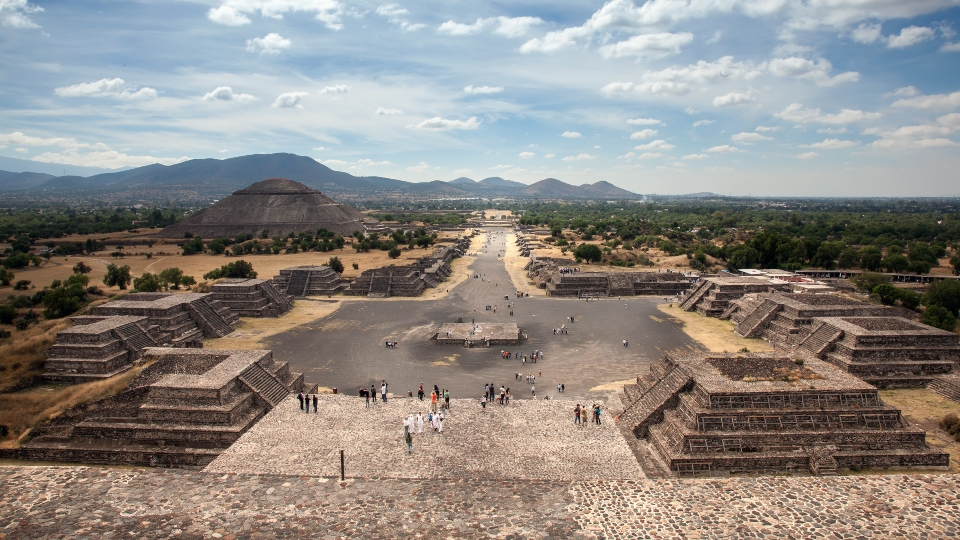 View of Teotihuacan pyramids